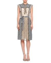 Bottega Veneta Multi Panel Floral Print Silk Dress Multi Color