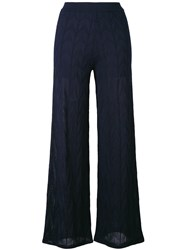 M Missoni Knitted Semi Sheer Trousers Women Cotton Polyester Viscose 38 Blue