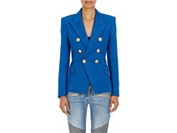 Balmain Women's Cotton Double Breasted Blazer Blue