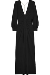 Michael Kors Collection Chain Embellished Open Back Draped Jersey Gown Black