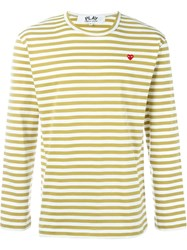 Comme Des Gara Ons Play Striped Relaxed Fit Sweatshirt Yellow And Orange