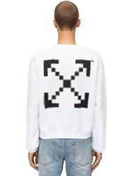 Off White Oversize Printed Cotton Sweatshirt White