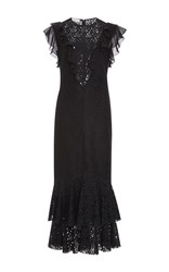 Philosophy Di Lorenzo Serafini Ruffle Floral Lace Fit And Flare Dress Black