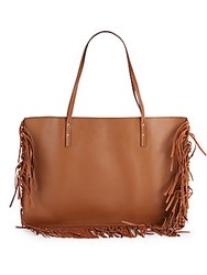 Maiyet Leather Fringe Trim Tote Beige