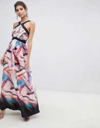 Little Mistress Print With Satin Detail Wide Strap Maxi Dress Multi