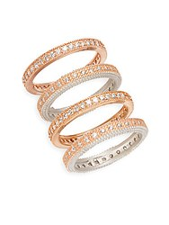 Freida Rothman Four Piece Mixed Eternity Ring Set Rose Gold