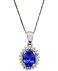 Macy's Tanzanite 1 Ct. T.W. And Diamond 1 6 Ct. T.W. Pendant Necklace In 14K White Gold