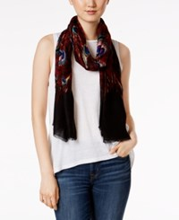 Inc International Concepts Peacock Wrap And Scarf In One Only At Macy's Red Multi