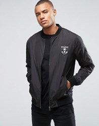 Only And Sons Bomber Jacket With Badges Black
