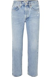Agolde Parker Distressed Cropped Mid Rise Straight Leg Jeans Mid Denim