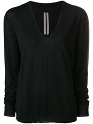 Rick Owens Loose V Neck Jumper Black