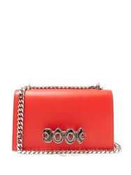 Alexander Mcqueen Jewelled Knuckle Duster Leather Cross Body Bag Red