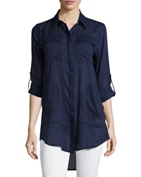 Chelsea And Theodore Sheer Roll Sleeve Button Down Tunic Navy Rugby