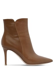 Gianvito Rossi 85Mm Levy Leather Ankle Boots Tan
