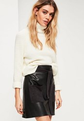 Missguided Black Faux Leather Pocket Detail A Line Mini Skirt