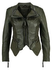 Be Edgy Pia Leather Jacket Khaki
