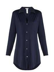 Hanro Button Front Cotton Nightdress Navy