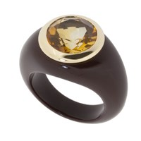 Andre Benitah Creations Paris Tone On Tone Resin And Gemstone Ring Chocolate W Citrine