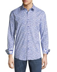 1 Like No Other Classic Fit Starburst Print Sport Shirt Blue