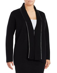 Calvin Klein Plus Faux Leather Accented Cardigan Black