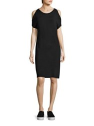 Saks Fifth Avenue X Majestic Filatures Soft Touch French Terry Cold Shoulder Dress Noir