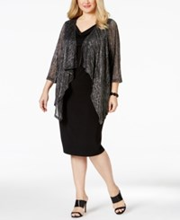 Connected Plus Size Metallic Layered Look Dress Black Silver