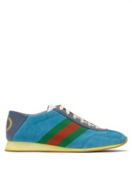 Gucci Rocket Suede Low Top Trainers Blue