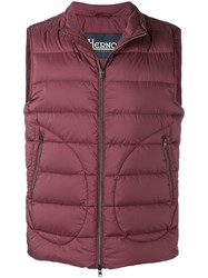 Herno Zipped Gilet Jacket Red