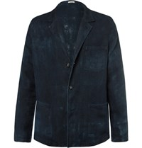 Massimo Alba Blue Unstructured Hand Painted Linen Blazer Navy
