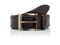 Barneys New York Women's Dot Perforated Leather Belt Dark Brown