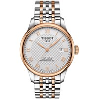 Tissot T0064072203300 Men's Le Locle Automatic Two Tone Date Bracelet Strap Watch Silver Rose Gold