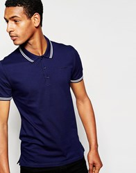 Antony Morato Pique Polo Shirt With Tipping Blue
