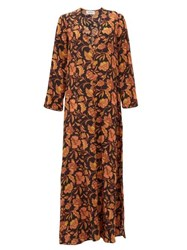Matteau The Long Floral Print Silk Maxi Dress Pink Print