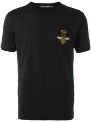 Dolce And Gabbana Crown Bee Patch T Shirt Black