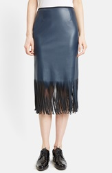 Cedric Charlier Fringe Faux Leather Pencil Skirt Navy