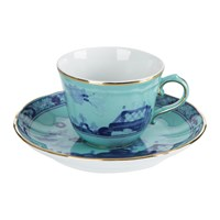 Richard Ginori 1735 Oriente Italiano Iris Coffee Cup And Saucer