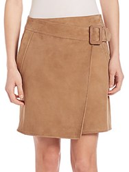 Vince Suede Asymmetrical Belted Skirt Taupe