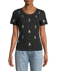 Romeo And Juliet Couture Pineapple Embroidered Short Sleeve Tee Black Gold