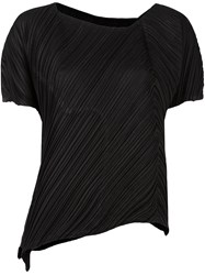 Issey Miyake Pleats Please By Pleated Texture Shortsleeved Blouse Black