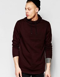 Asos Funnel Hoodie With Fixed Hem In Burgundy Burgundy Red