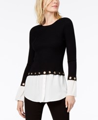 Inc International Concepts I.N.C. Grommet Embellished Layered Look Sweater Created For Macy's Black