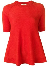 Odeeh Shortsleeved Knit Top Red