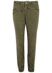 Pam And Gela Olive Washed Tencel Cargo Trousers Khaki