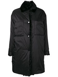 Max And Moi Fur Collar Down Jacket Black