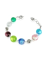 Antica Murrina Veneziana Frida Murano Glass Bead Bracelet Multicolor Silver