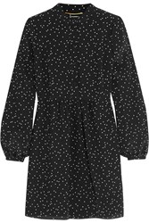 Saint Laurent Polka Dot Silk Crepe De Chine Mini Dress