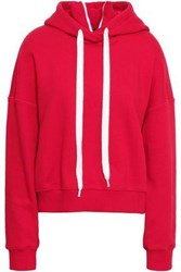 Goen.J Woman French Cotton Terry Hooded Sweatshirt Red