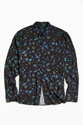 Urban Outfitters Uo Owen Stones Print Rayon Button Down Shirt Black