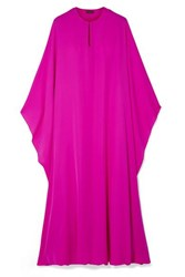 Reem Acra Draped Silk Georgette Midi Dress Fuchsia