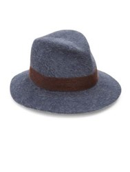 Lola Hats Shadow Felted Wool And Rabbit Fur Fedora Blue Brown